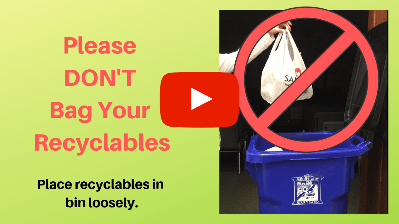 Please Do NOT Bag Your Recyclables